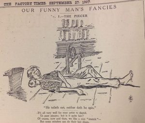 "Cartoon published in ""Cotton Factory Times"", 1907"