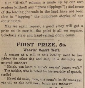 "Prize winning joke published in the ""Mirth in the Mill"" column, 1907"