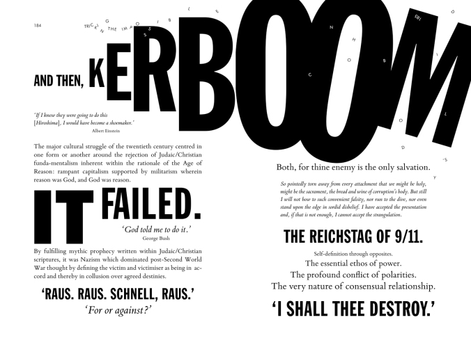 Image of typography for 'Kerboom', Bracketpress and Penny Rimbaud