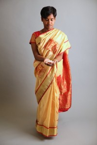 Photograph of a Bangladeshi women in traditional dress.